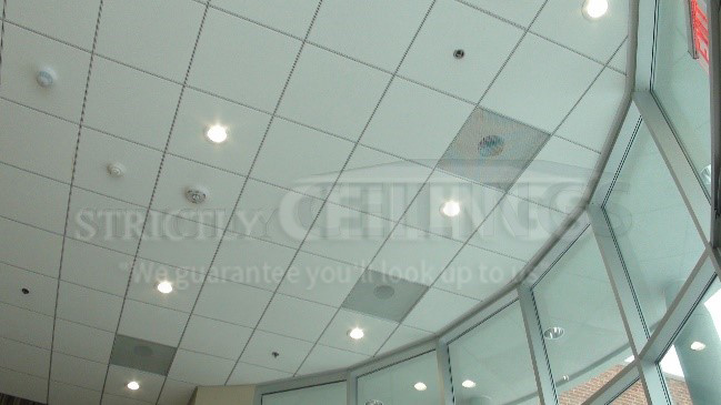 "Most drop ceiling installations have the standard 15/16"" wide ceiling grid  system installed. This system is commonly referred to as the 1"" wide grid. - Installing 9/16"" Narrow Drop Ceiling Grid - Drop Ceilings"